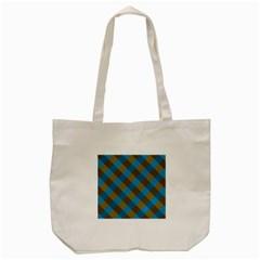 Plaid Line Brown Blue Box Tote Bag (Cream)