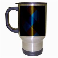 Plaid Line Brown Blue Box Travel Mug (Silver Gray)