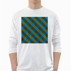 Plaid Line Brown Blue Box White Long Sleeve T-Shirts