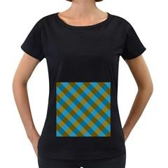 Plaid Line Brown Blue Box Women s Loose-Fit T-Shirt (Black)
