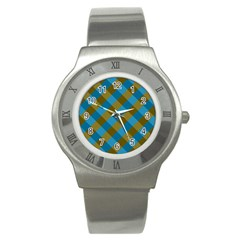 Plaid Line Brown Blue Box Stainless Steel Watch