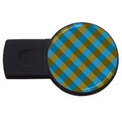 Plaid Line Brown Blue Box USB Flash Drive Round (4 GB)