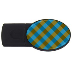 Plaid Line Brown Blue Box USB Flash Drive Oval (4 GB)