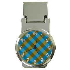Plaid Line Brown Blue Box Money Clip Watches