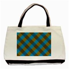 Plaid Line Brown Blue Box Basic Tote Bag
