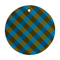 Plaid Line Brown Blue Box Round Ornament (Two Sides)