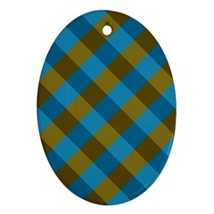Plaid Line Brown Blue Box Oval Ornament (Two Sides)