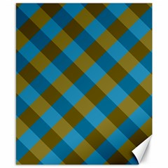 Plaid Line Brown Blue Box Canvas 8  x 10