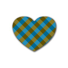 Plaid Line Brown Blue Box Heart Coaster (4 pack)