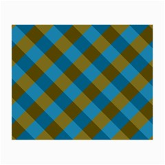 Plaid Line Brown Blue Box Small Glasses Cloth (2-Side)