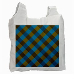 Plaid Line Brown Blue Box Recycle Bag (One Side)