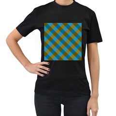 Plaid Line Brown Blue Box Women s T-Shirt (Black)