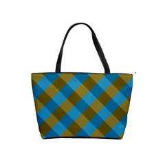 Plaid Line Brown Blue Box Shoulder Handbags