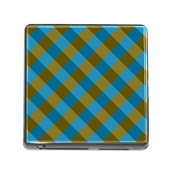 Plaid Line Brown Blue Box Memory Card Reader (Square)