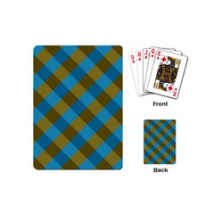 Plaid Line Brown Blue Box Playing Cards (Mini)
