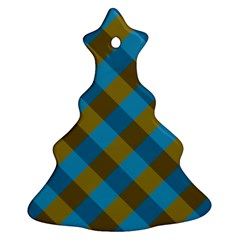 Plaid Line Brown Blue Box Christmas Tree Ornament (2 Sides)