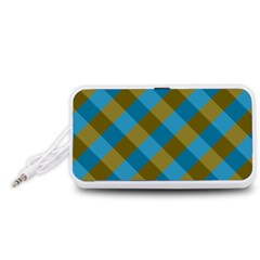 Plaid Line Brown Blue Box Portable Speaker (White)