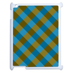 Plaid Line Brown Blue Box Apple iPad 2 Case (White)
