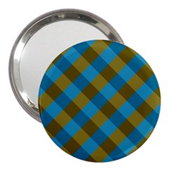 Plaid Line Brown Blue Box 3  Handbag Mirrors