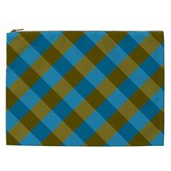 Plaid Line Brown Blue Box Cosmetic Bag (XXL)