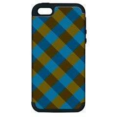 Plaid Line Brown Blue Box Apple iPhone 5 Hardshell Case (PC+Silicone)