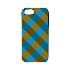 Plaid Line Brown Blue Box Apple iPhone 5 Classic Hardshell Case (PC+Silicone)