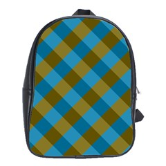 Plaid Line Brown Blue Box School Bags (XL)