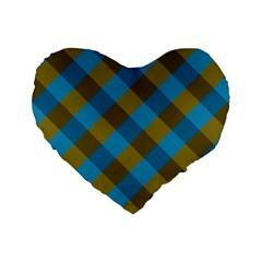 Plaid Line Brown Blue Box Standard 16  Premium Heart Shape Cushions