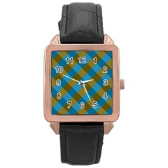 Plaid Line Brown Blue Box Rose Gold Leather Watch