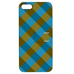 Plaid Line Brown Blue Box Apple iPhone 5 Hardshell Case with Stand