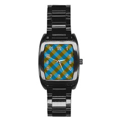 Plaid Line Brown Blue Box Stainless Steel Barrel Watch