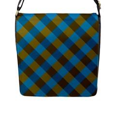 Plaid Line Brown Blue Box Flap Messenger Bag (L)