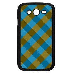 Plaid Line Brown Blue Box Samsung Galaxy Grand DUOS I9082 Case (Black)