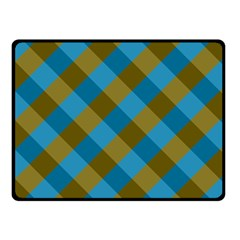 Plaid Line Brown Blue Box Double Sided Fleece Blanket (Small)