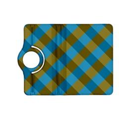 Plaid Line Brown Blue Box Kindle Fire HD (2013) Flip 360 Case
