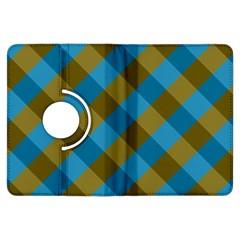 Plaid Line Brown Blue Box Kindle Fire HDX Flip 360 Case