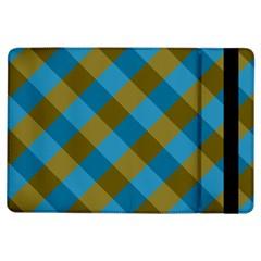 Plaid Line Brown Blue Box iPad Air Flip