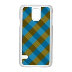 Plaid Line Brown Blue Box Samsung Galaxy S5 Case (White)