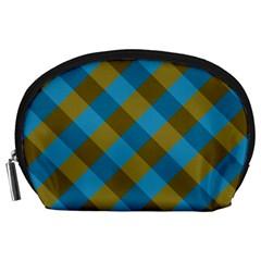 Plaid Line Brown Blue Box Accessory Pouches (Large)