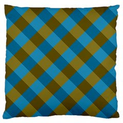 Plaid Line Brown Blue Box Large Flano Cushion Case (One Side)