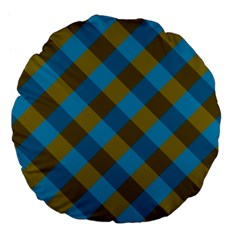 Plaid Line Brown Blue Box Large 18  Premium Flano Round Cushions