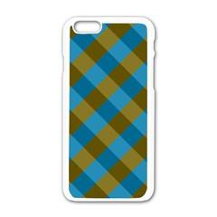 Plaid Line Brown Blue Box Apple iPhone 6/6S White Enamel Case