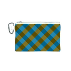 Plaid Line Brown Blue Box Canvas Cosmetic Bag (S)