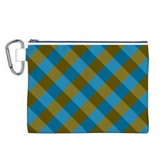 Plaid Line Brown Blue Box Canvas Cosmetic Bag (L)
