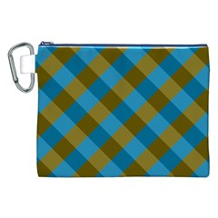 Plaid Line Brown Blue Box Canvas Cosmetic Bag (XXL)