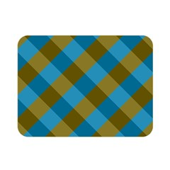 Plaid Line Brown Blue Box Double Sided Flano Blanket (Mini)
