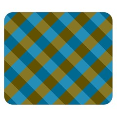 Plaid Line Brown Blue Box Double Sided Flano Blanket (Small)