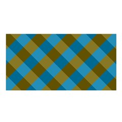 Plaid Line Brown Blue Box Satin Shawl