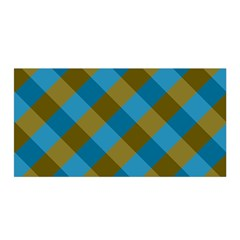 Plaid Line Brown Blue Box Satin Wrap
