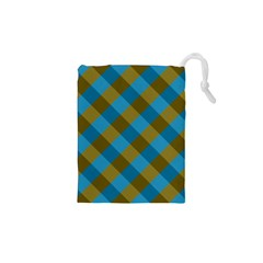 Plaid Line Brown Blue Box Drawstring Pouches (XS)